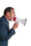 Megáfono de grito del hombre de negocios aislado Imagen de archivo libre de regalías