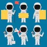 Megáfono de Holding Paper Phone del astronauta ilustración del vector