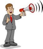 Megáfono del hombre de negocios Imagen de archivo libre de regalías