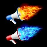 Megáfonos en llama ilustración del vector