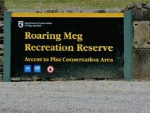 Meg Recreation Reserve Signboard de rugido fotografía de archivo