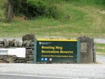 Meg Recreation Reserve Signboard de rugido fotografía de archivo libre de regalías