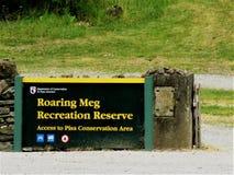Meg Recreation Reserve Signboard de rugido foto de archivo