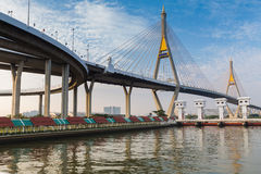 Mega Bangkok Suspension Bridge with blue sky, Thailand Stock Photography