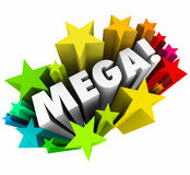 Mega Big Huge Word Stars Gigantic Great Response Sale Stock Image