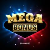 Mega Bonus casino banner. Mega Bonus bright casino banner Royalty Free Stock Photo