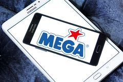 Mega Brands toy manufacturer logo. Logo of Mega Brands toy manufacturer on samsung mobile. Mega Brands is a Canadian children`s toy company currently owned by stock photo