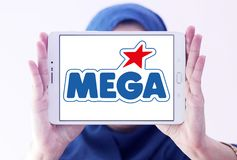 Mega Brands toy manufacturer logo. Logo of Mega Brands toy manufacturer on samsung tablet holded by arab muslim woman. Mega Brands is a Canadian children`s toy royalty free stock photos