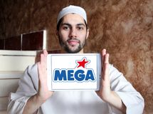 Mega Brands toy manufacturer logo. Logo of Mega Brands toy manufacturer on samsung tablet holded by arab muslim man. Mega Brands is a Canadian children`s toy stock photos