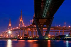 Mega Bridge At Dusk In Thailand Stock Photo