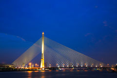 Mega bridge in Bangkok,Thailand (Rama 8 Bridge). Night scene of Mega bridge in Bangkok,Thailand (Rama 8 Bridge Royalty Free Stock Photography