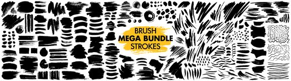 Free Mega Bundle Of Different Ink Brush Strokes Stock Photo - 163670130