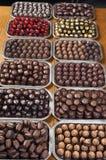 Mega Chocolate. Trays of chocolate truffles line a table Stock Photos