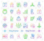 Mega Christmas icons set, Trendy gradient line icon minimal design Royalty Free Stock Photo