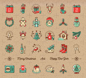 Mega Christmas icons set, Winter holiday symbols, Vintage retro style. Mega Christmas icons set, New Year  symbols. Celebration party icons, Winter holiday thin Stock Photography