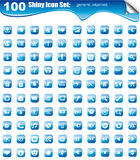 Mega Collection of 100 Icons for websites button. 100 Icons collection: multimedia, business, finance, internet and more with glossy button background Stock Image
