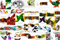 Mega collection of abstract backgrounds - wave designs, square shapes, round circles and othe geometric shapes, color Stock Photos