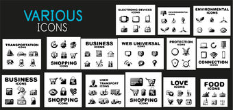 Mega collection of black web icons Stock Photography