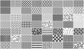Set of monochrome seamless geometric pattern. Mega collection of Black and white seamless geometric pattern. Isolated on White background vector illustration