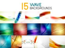 Mega collection of blurred wave abstract backgrounds Stock Images