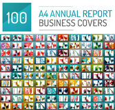 Mega collection of 100 business annual report brochure templates Royalty Free Stock Photos
