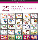 Mega collection of 25 business annual reports brochure cover templates Royalty Free Stock Images