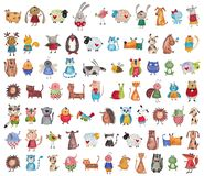 Mega collection of cartoon pets royalty free illustration