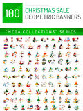 Mega collection of Christmas sale banner templates Stock Photo
