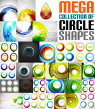 Mega collection of circle shaped compositions. Backgrounds, icons, swirl symbols, rotation designs, buttons Stock Photography