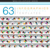 Mega collection of color geometrical infographic or web banner templates with sample abc option text Royalty Free Stock Image