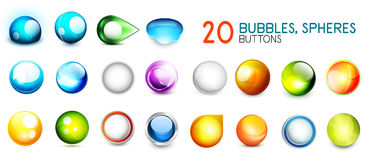 Mega collection of color sphere buttons Royalty Free Stock Images