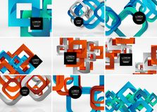 Mega collection of 3d form vector abstract backgrounds with cut style 3d geometric forms - lines, squares, rectangles. Business presentation design templates Royalty Free Stock Images