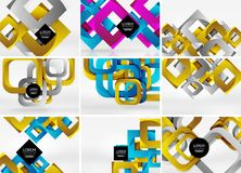 Mega collection of 3d form vector abstract backgrounds with cut style 3d geometric forms - lines, squares, rectangles. Business presentation design templates Stock Photography