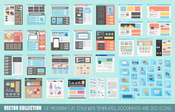 Mega Collection of Flat Style Website templates Stock Photo