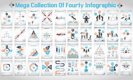 Mega collection of fourty modern origami infographic Royalty Free Stock Photo