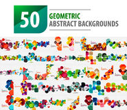 Mega collection of 50 geometric abstract backgrounds created with modern patterns - squares vector illustration