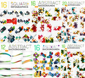 Mega collection of geometric abstract backgrounds. Flyer, brochure design templates. Color compositions. Vector illustration Royalty Free Stock Images