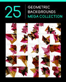 Mega collection of geometric abstract backgrounds Stock Photo