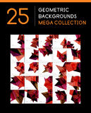Mega collection of geometric abstract backgrounds. Mega collection of geometric shape abstract backgrounds - 25 layout templates Royalty Free Stock Images