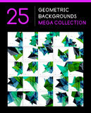Mega collection of geometric abstract backgrounds. Mega collection of geometric shape abstract backgrounds - 25 layout templates Royalty Free Stock Image