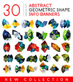 Mega collection of geometric info banner templates. 30 business or technology layouts for presetation Stock Image