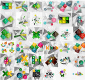 Mega collection of geometric paper style banners Royalty Free Stock Photos