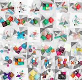 Mega collection of geometric paper style banners Stock Images
