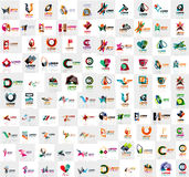 Mega collection of geometrical abstract logo templates, origami paper style business icons with sample text Stock Photos