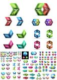 Mega collection of glossy geometric shiny glass geometric sale buttons. Vector promo web boxes templates Royalty Free Stock Photography