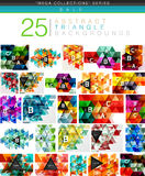 Mega collection of 24 low poly triangle abstract backgrounds. Colorful triangles and lines with sample text and infographics Stock Photography