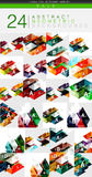Mega collection of 24 low poly triangle abstract backgrounds. Colorful triangles and lines with sample text and infographics Royalty Free Stock Images