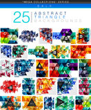 Mega collection of 24 low poly triangle abstract backgrounds. Colorful triangles and lines with sample text and infographics Royalty Free Stock Photography