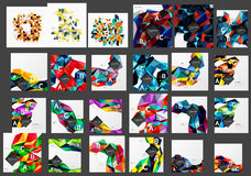 Mega collection of low poly triangle mosaic abstract backgrounds. Vector template background for print workflow layout, diagram, number options or web design Royalty Free Stock Photos