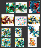 Mega collection of low poly triangle mosaic abstract backgrounds. Vector template background for print workflow layout, diagram, number options or web design Stock Photo